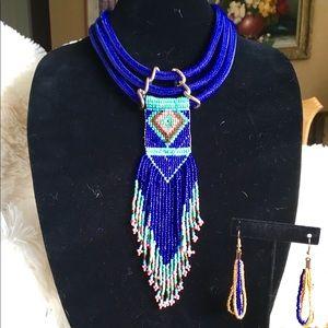 Purple Blue Tassel Bead Necklace Earring Set